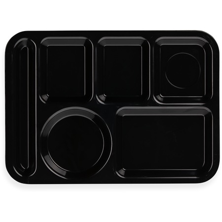 """61403 - Left-Hand 6-Compartment ABS Tray 10"""" x 14"""" - Black"""