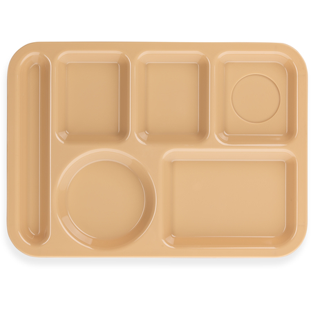 """614PC25 - Left-Hand 6-Compartment Polycarbonate Tray 10"""" x 14"""" - Tan"""