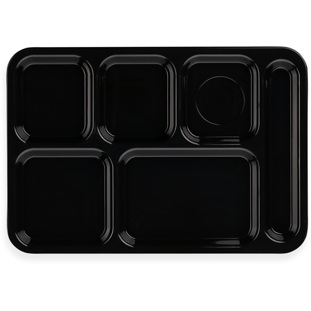 """614R03 - Right-Hand 6-Compartment ABS Tray 10"""" x 14"""" - Black"""