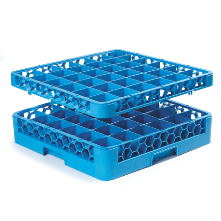 """RG36-1C411 - OptiClean™ 36 Compartment Glass Rack with 1 Extender 5.56"""" - Yellow-Carlisle Blue"""