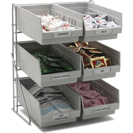 "381206LG - Wire Packet Rack, comes with 6 each 4 qt Containers 14"", 12"", 18"" - Gray"