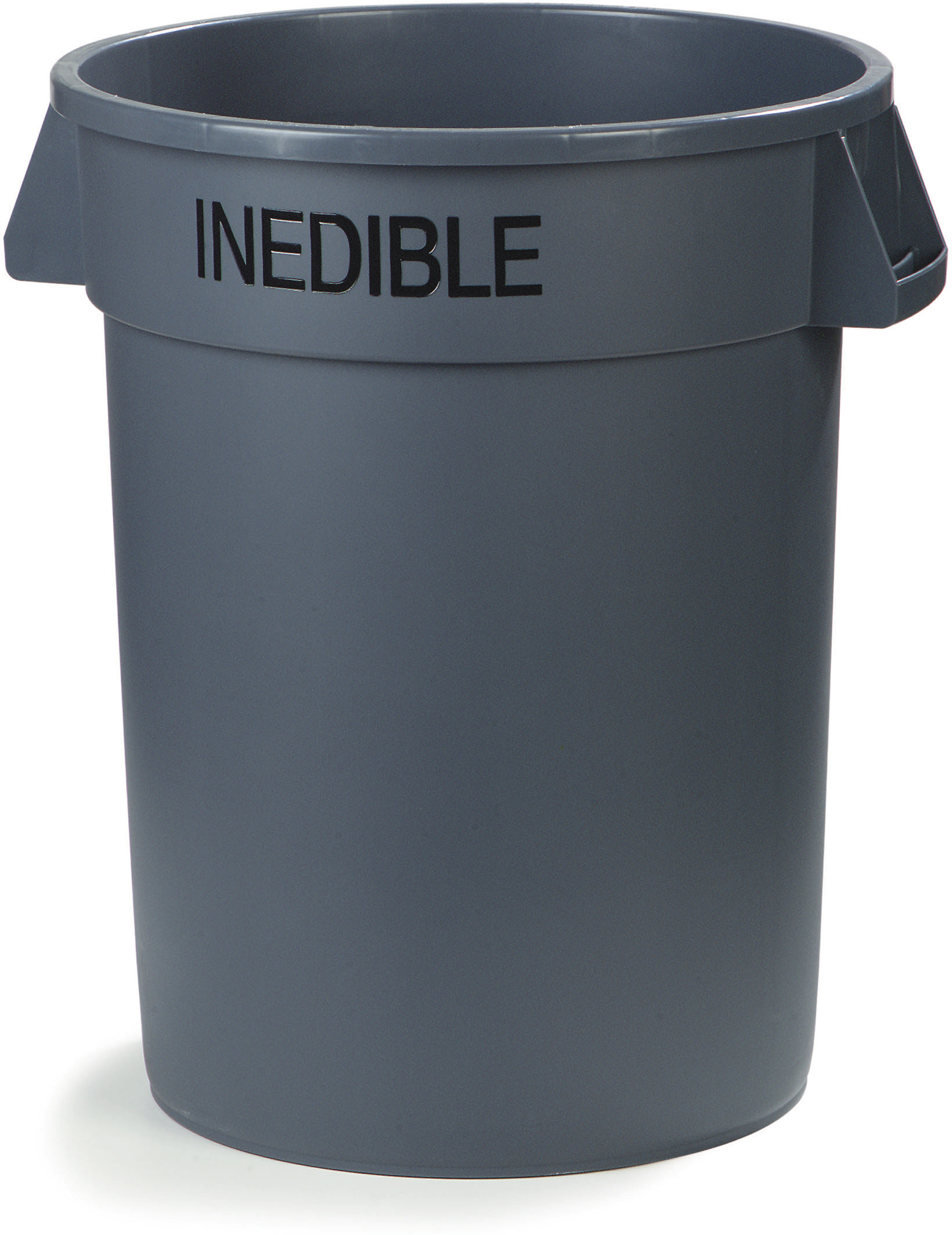 Bronco Round INEDIBLE Waste Container 32 Gallon - Gray