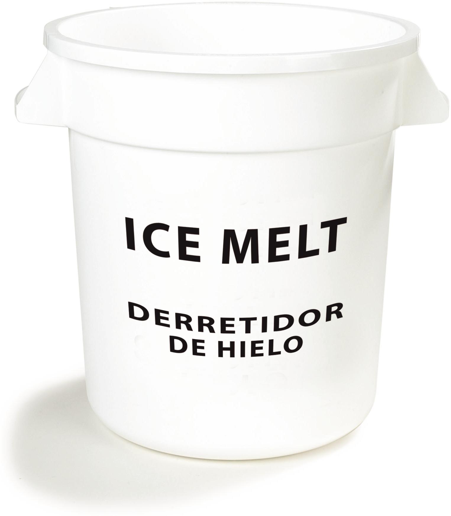 Bronco Round ICE MELT Container 20 Gallon - Ice Melt - White