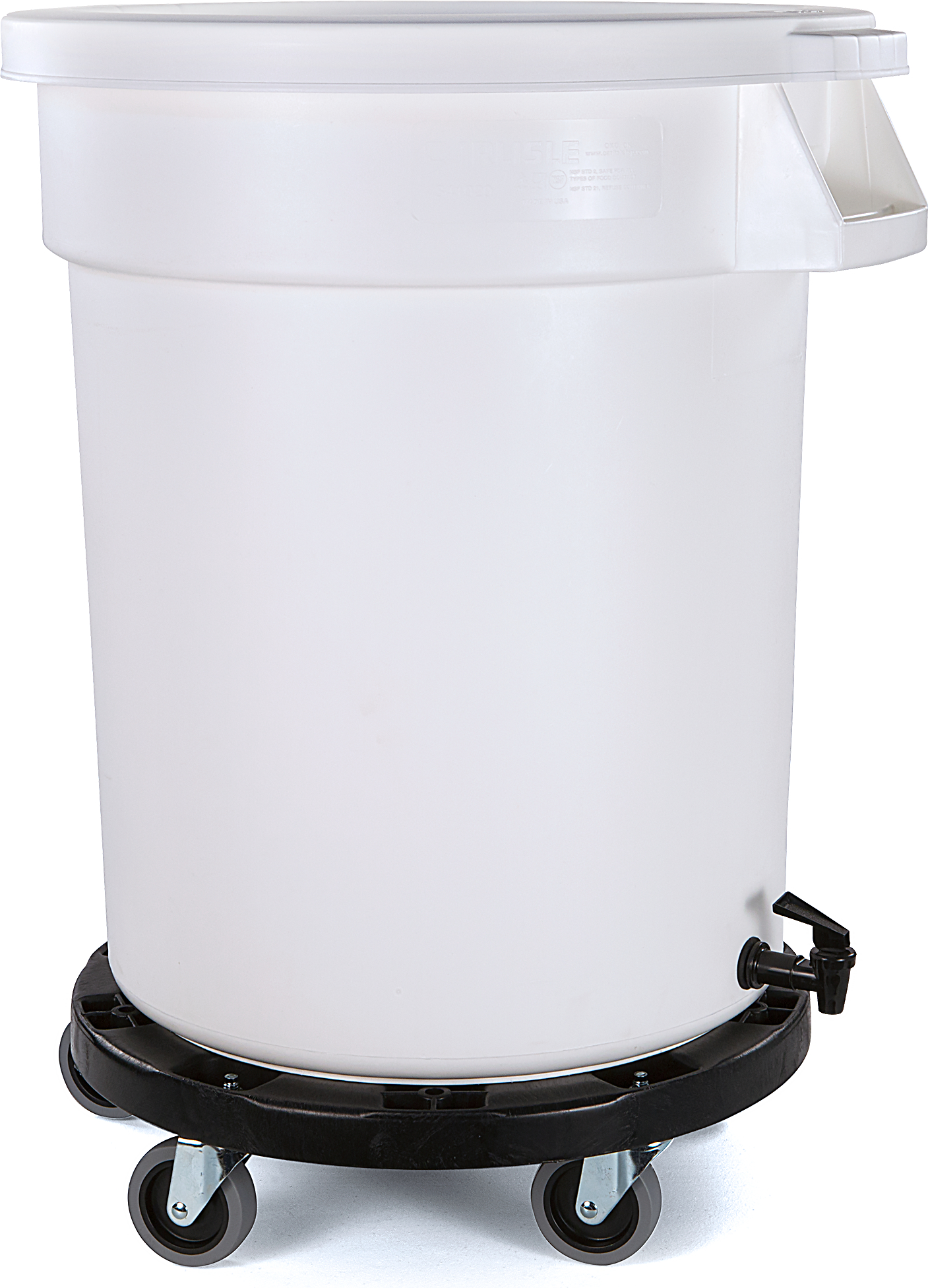 Bronco Round Mobile Soaking Marinating Solution (Container, Faucet Drain, Dolly, Lid Included) 20 Gallon - White