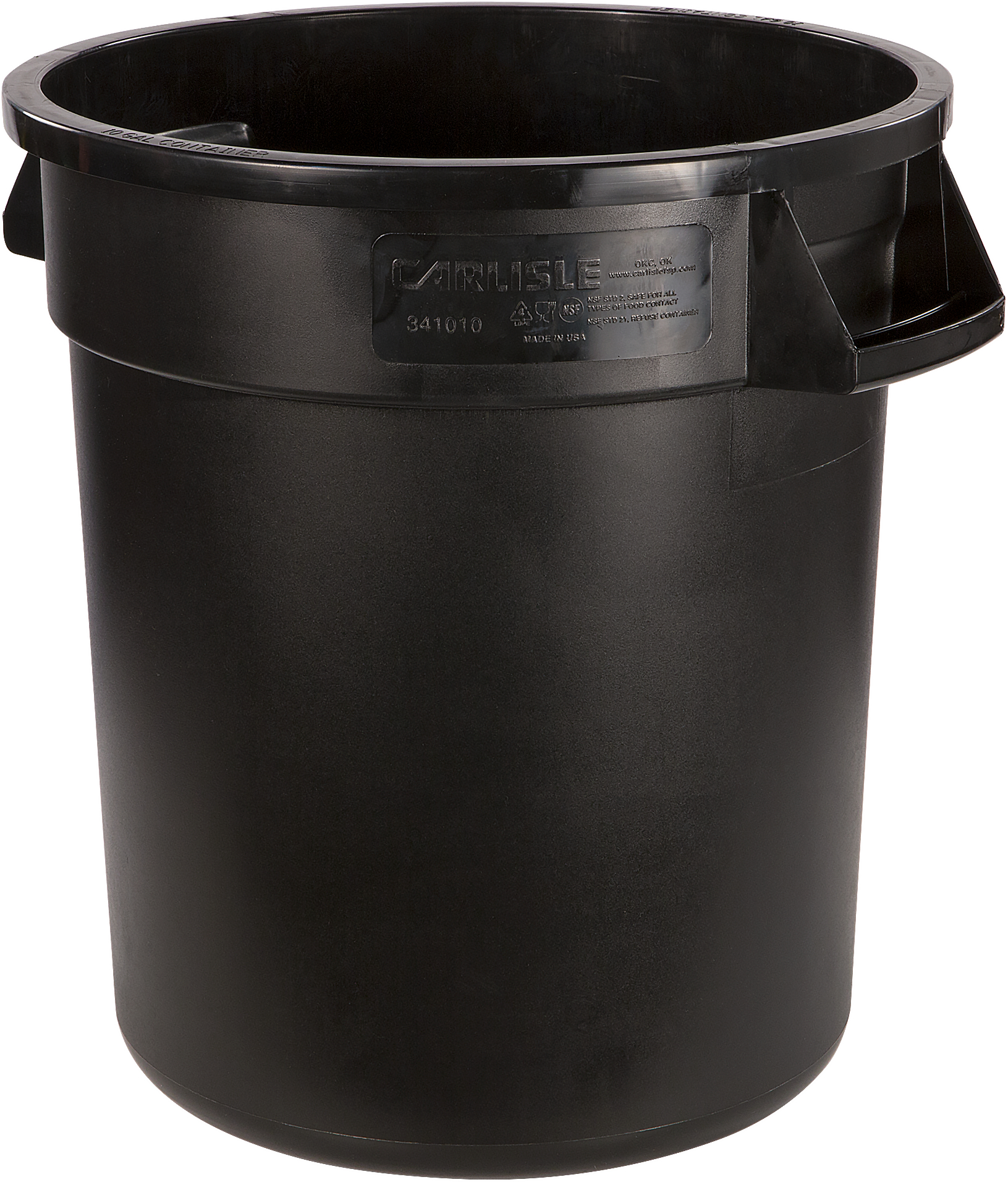 Bronco Round Waste Bin Food Container 10 Gallon - Black