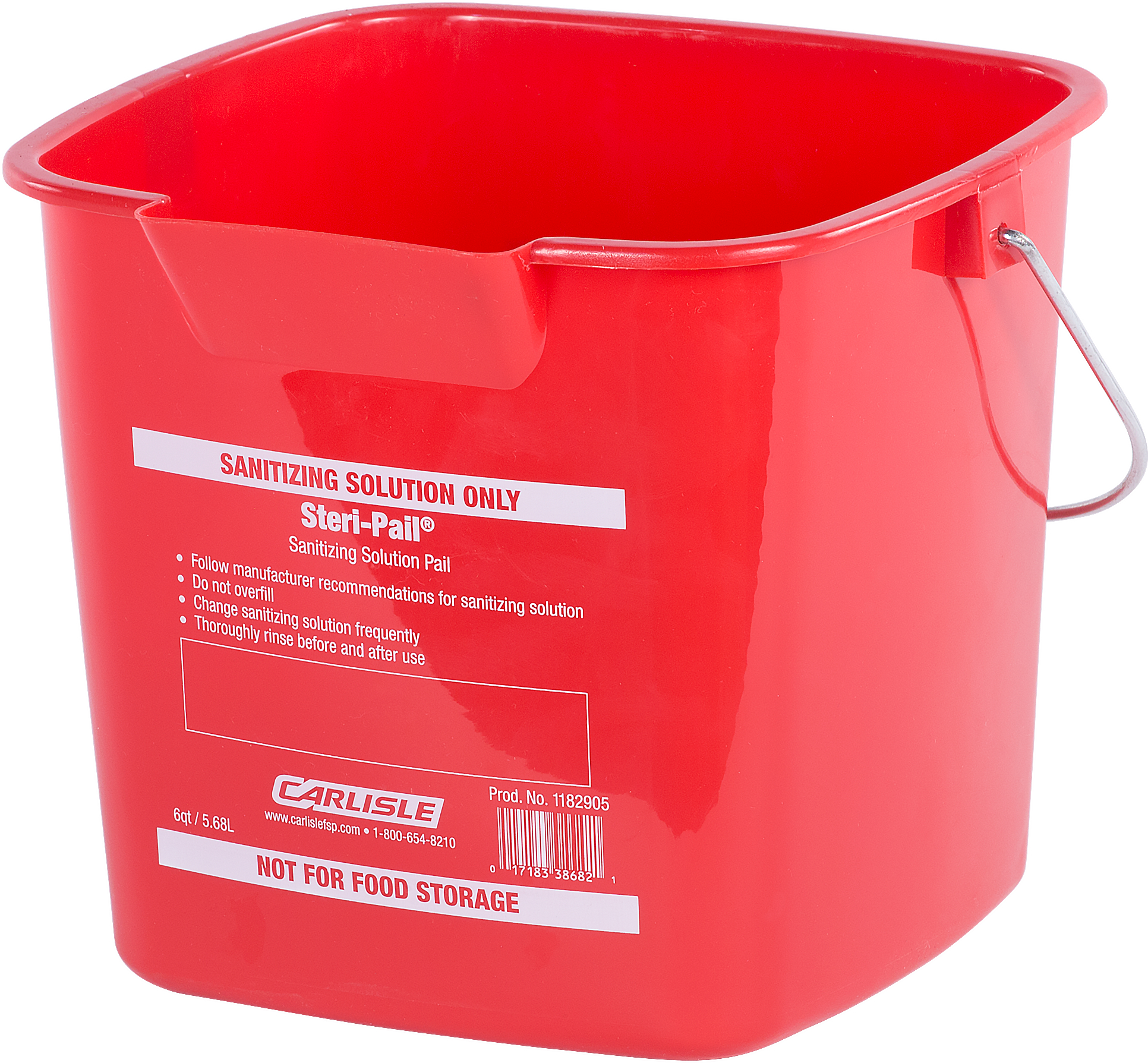 Square Steri Pail 6 qt - Red