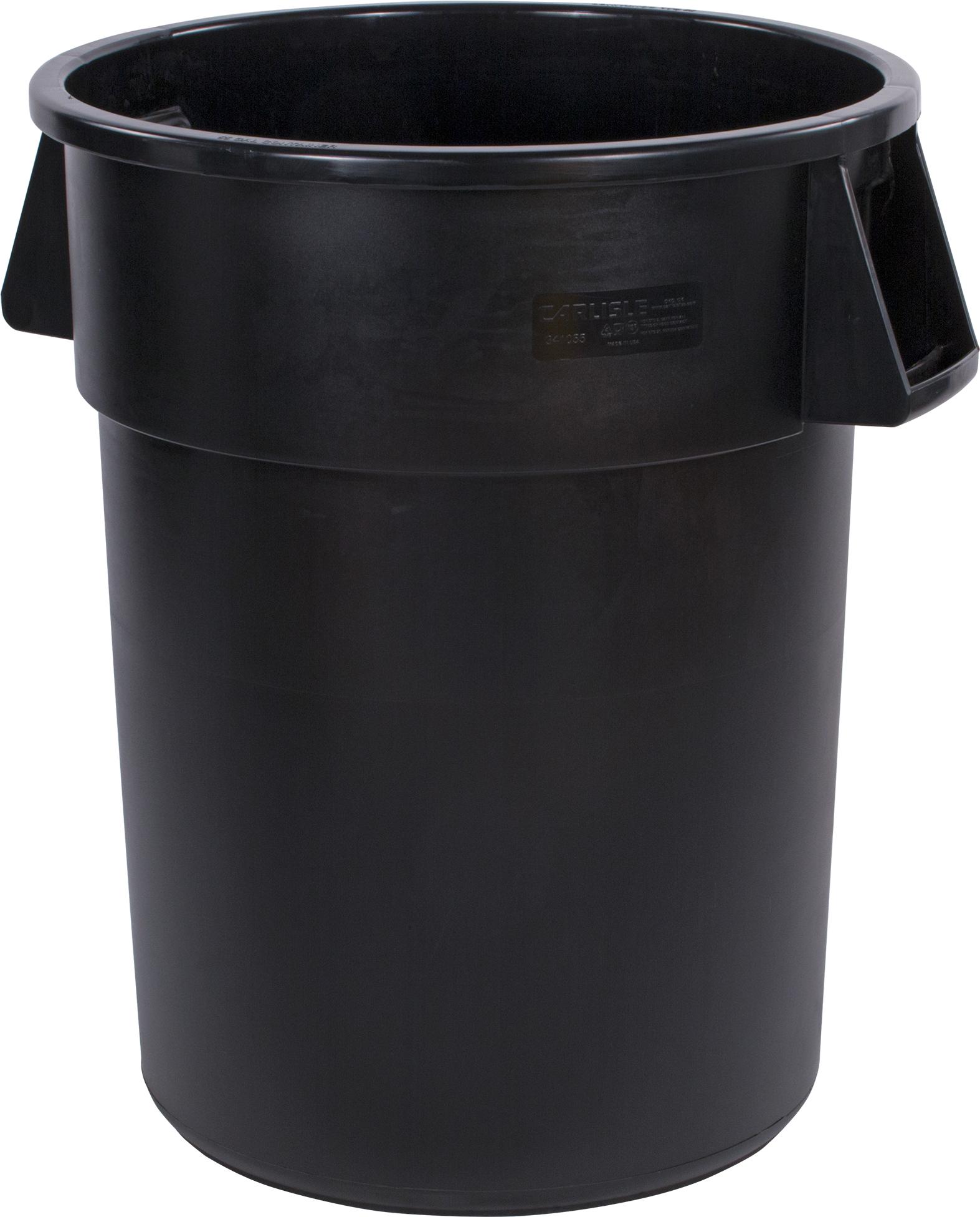 Bronco Round Waste Bin Trash Container 55 Gallon - Black