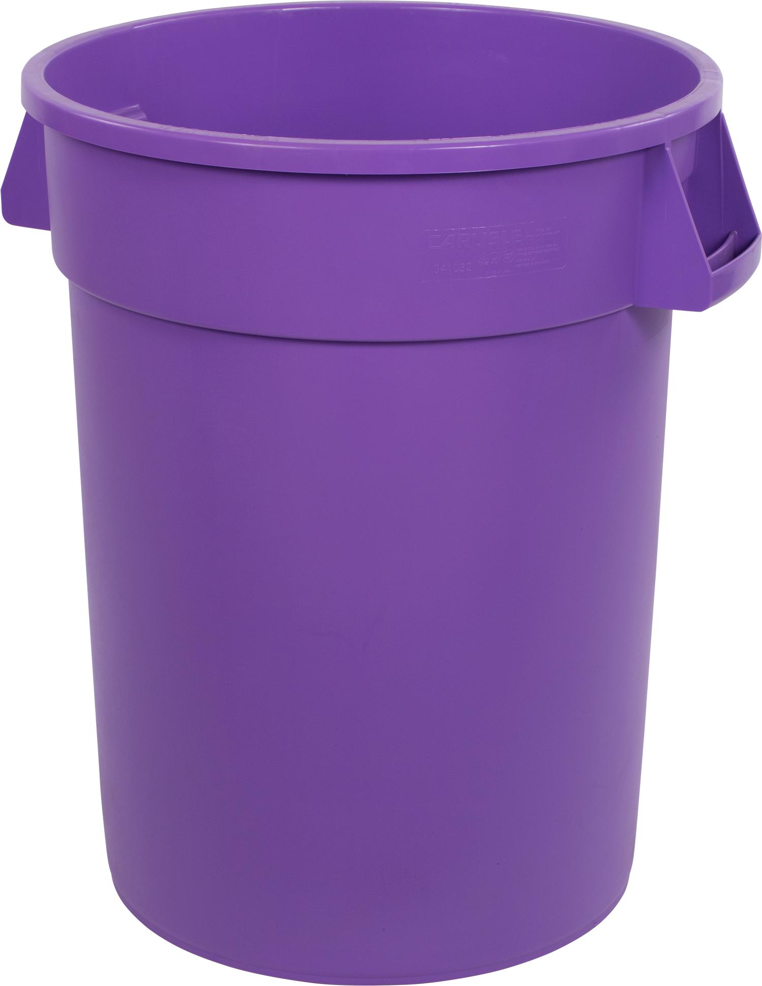 Bronco Round Waste Bin Trash Container 32 Gallon - Purple