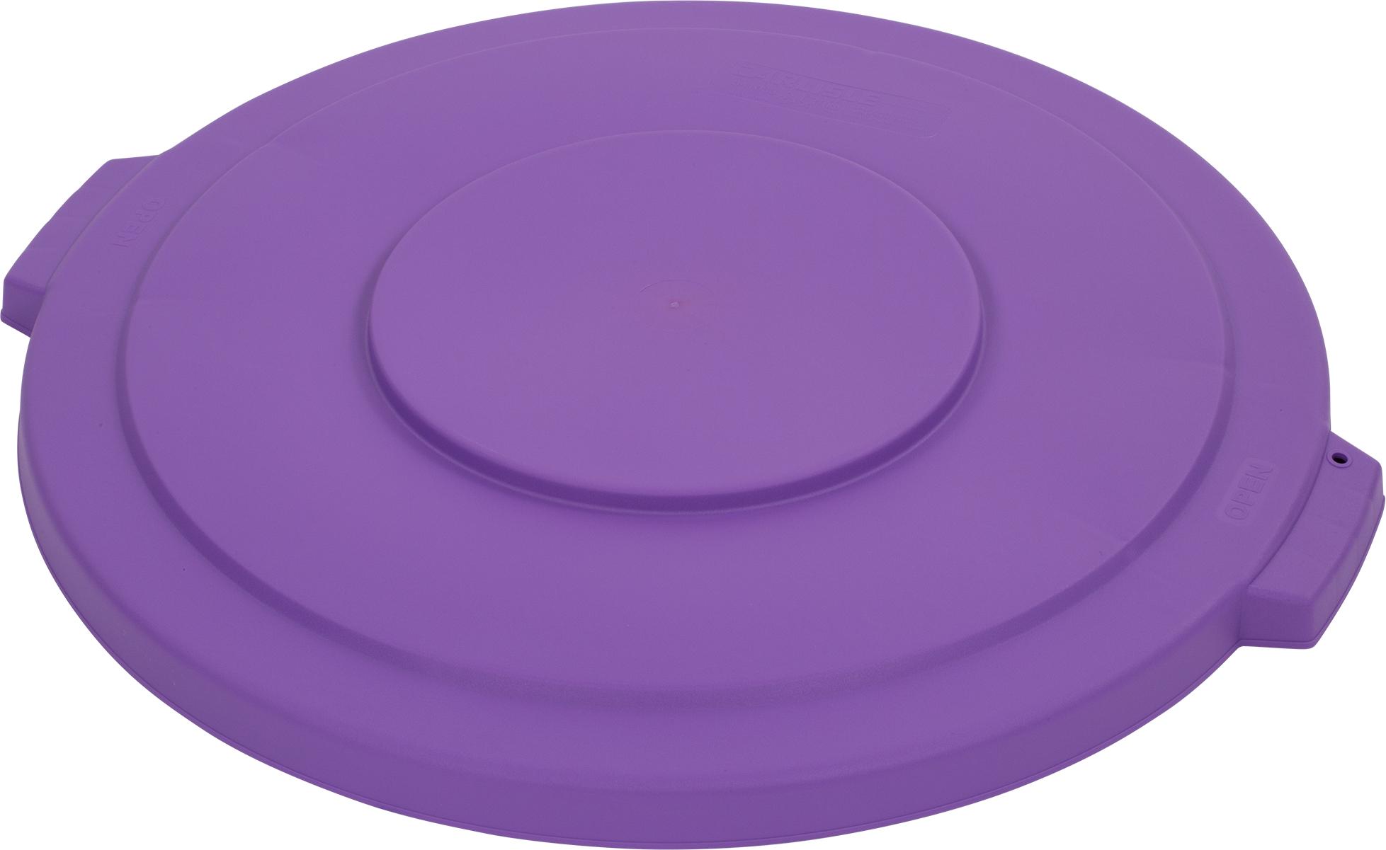 Bronco Round Waste Bin Trash Container Lid 32 Gallon - Purple