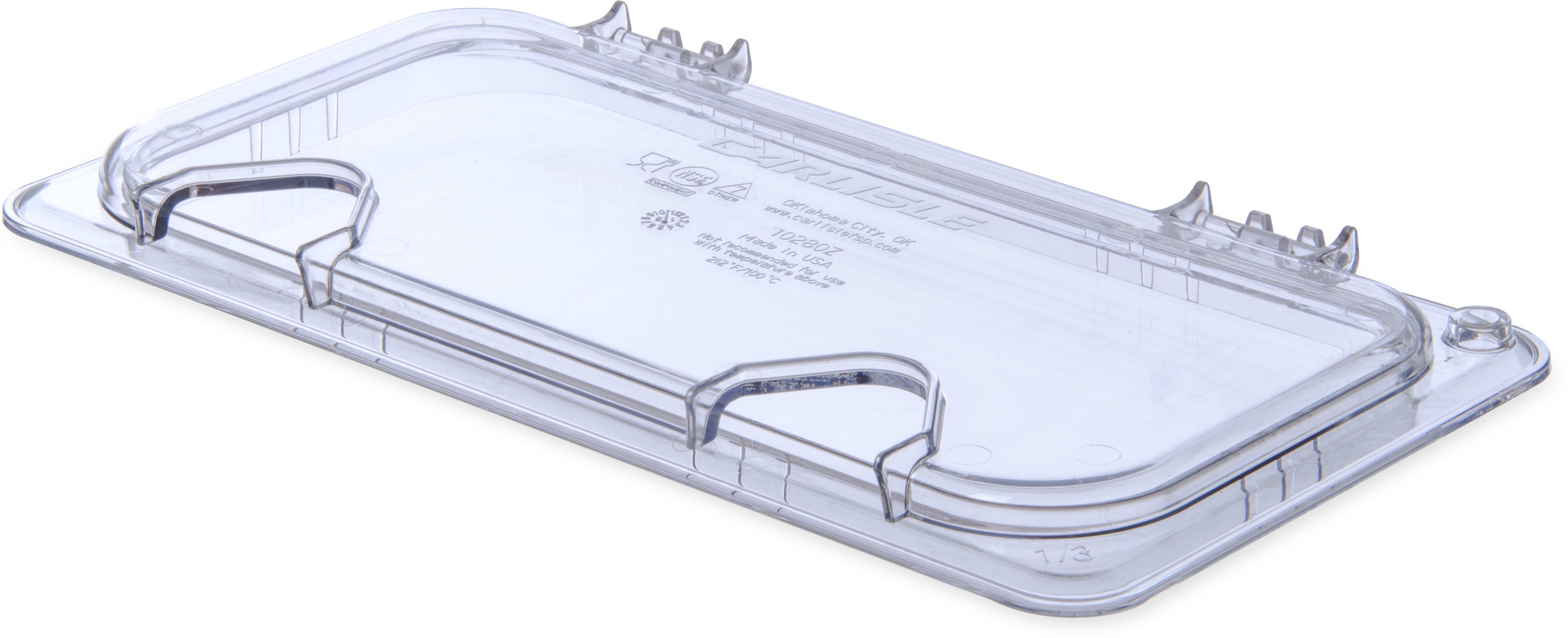 StorPlus EZ Access Hinged Univ Lid with Handle and 2 Notches 1/3 Size - Clear