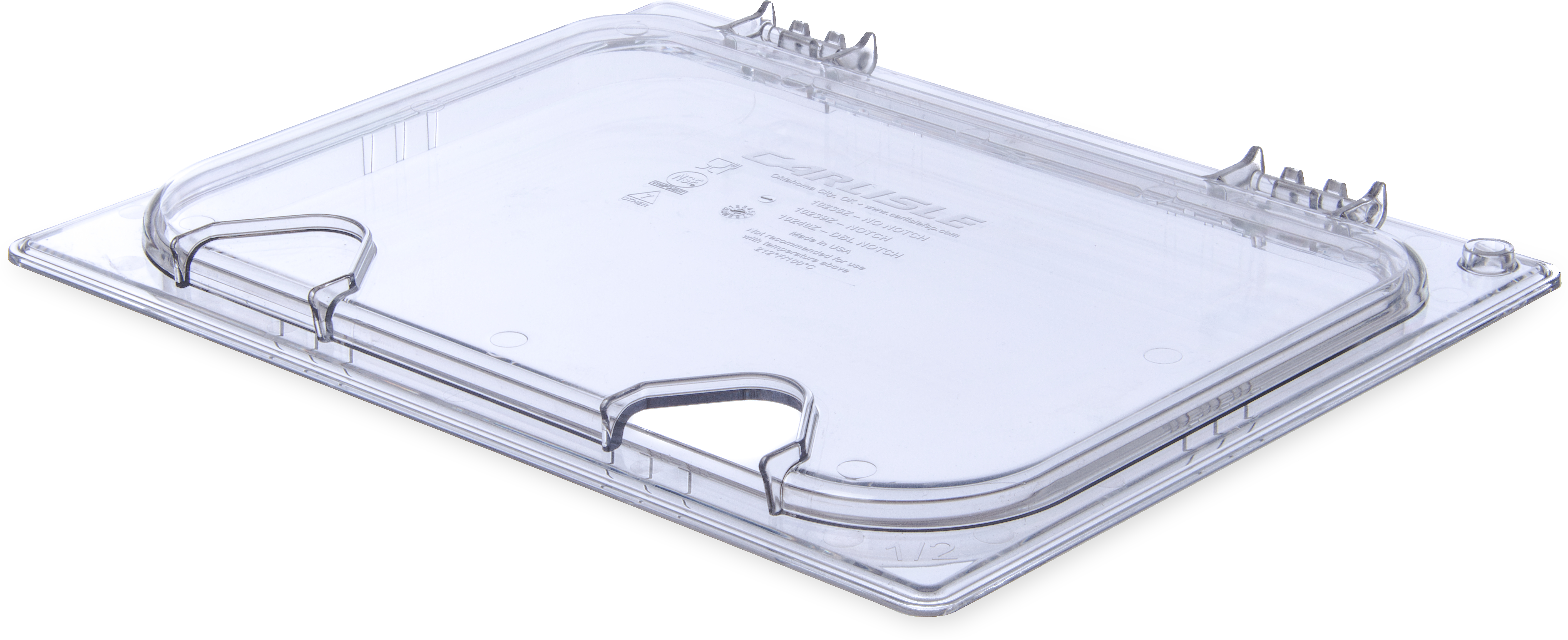 StorPlus EZ Access Hinged Univ Lid with Handle and Notch 1/2 Size - Clear