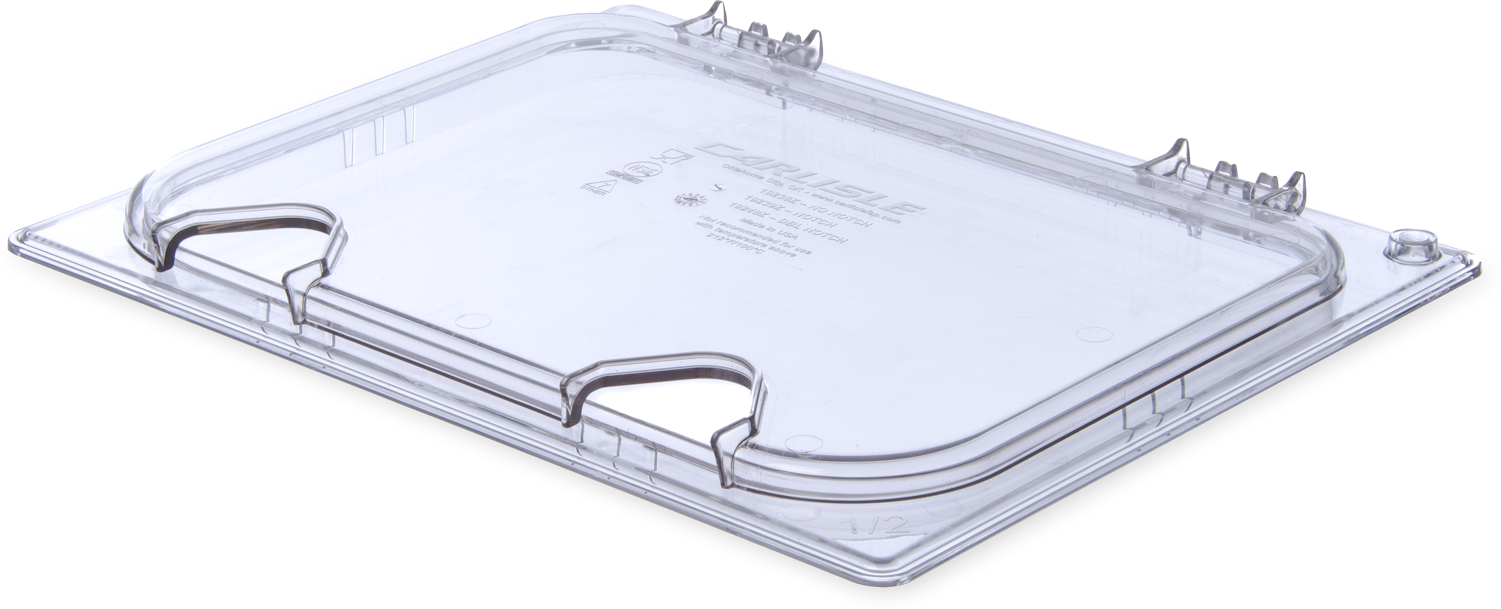 StorPlus EZ Access Hinged Univ Lid with Handle and 2 Notches 1/2 Size - Clear