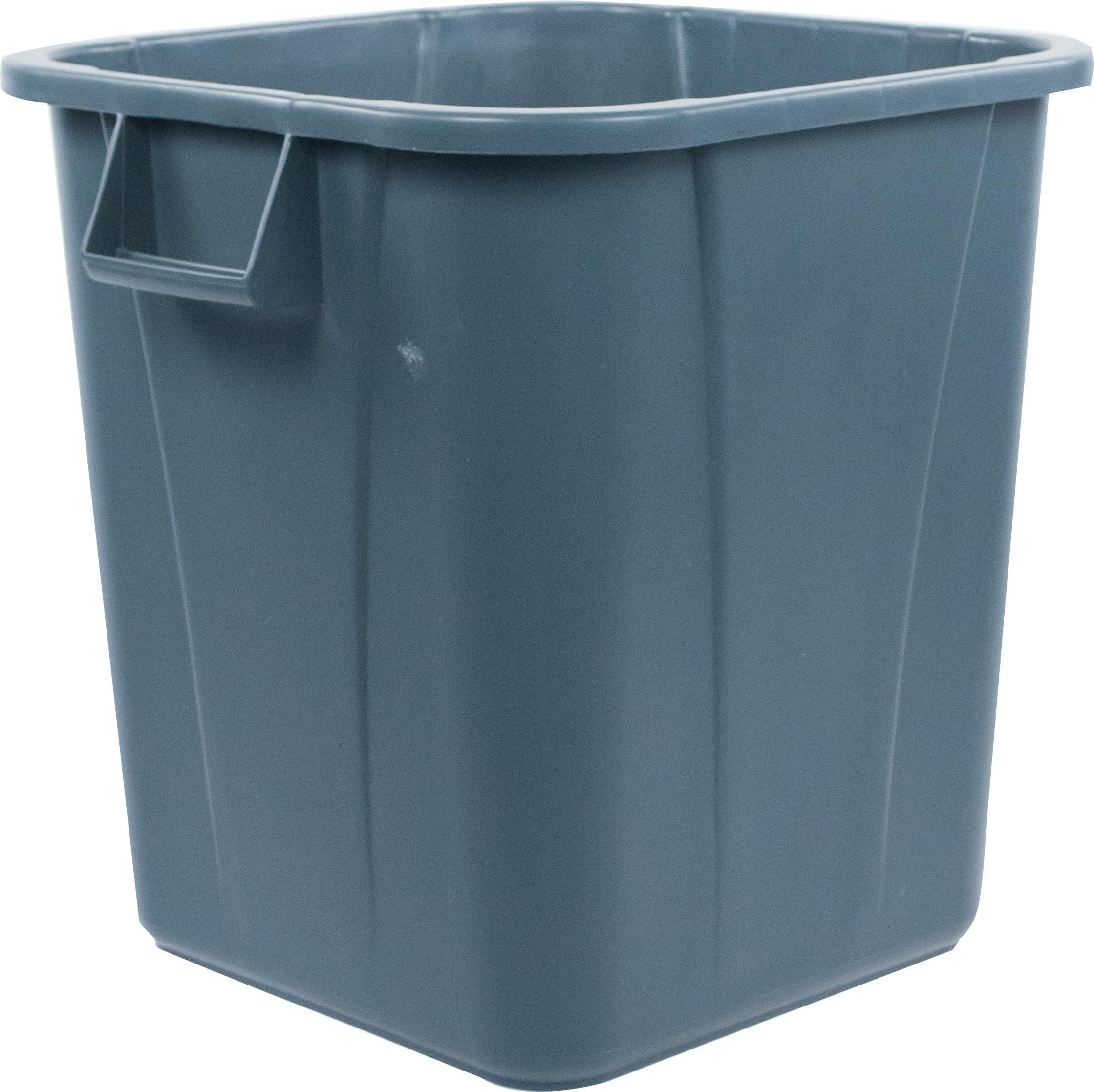 Bronco Square Waste Bin Trash Container 28 Gallon - Gray