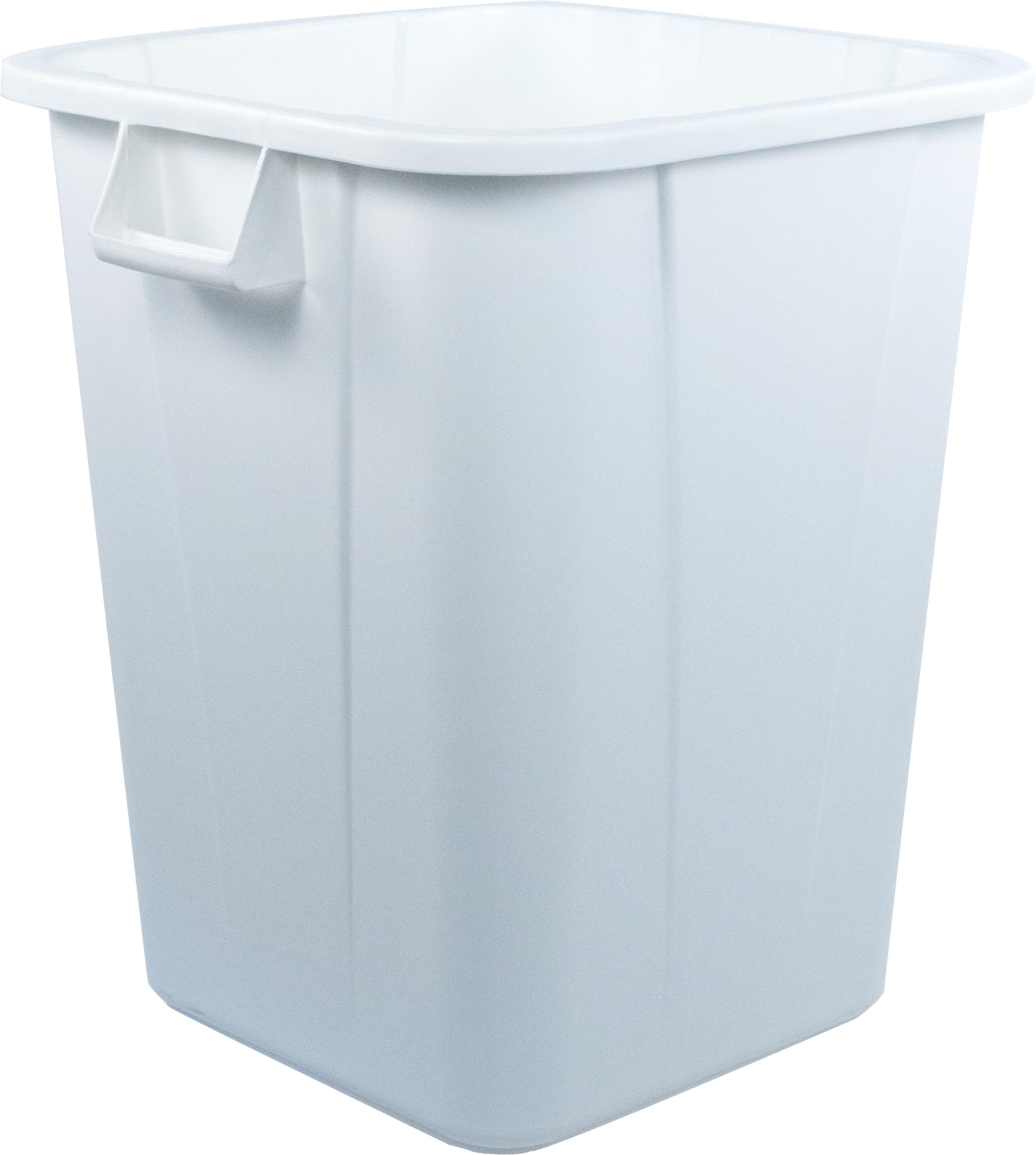 Bronco Square Waste Bin Trash Container 40 Gallon - White