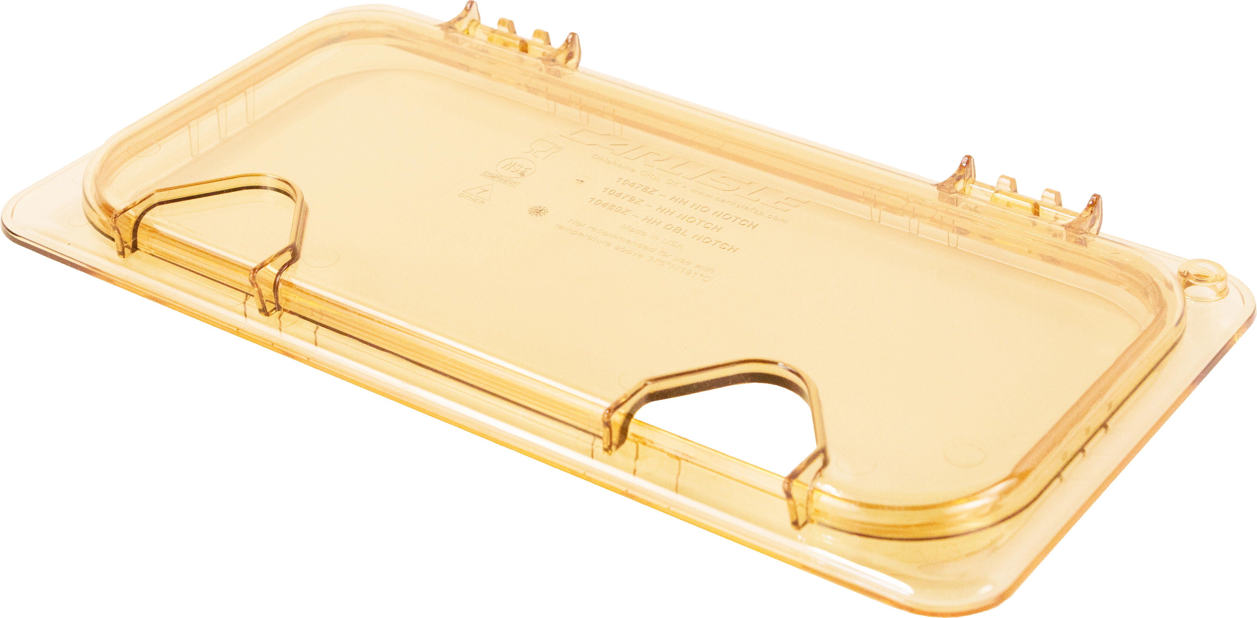 StorPlus EZ Access Hinged High Heat Lid with Handle and Notch Universal Third Size - Amber
