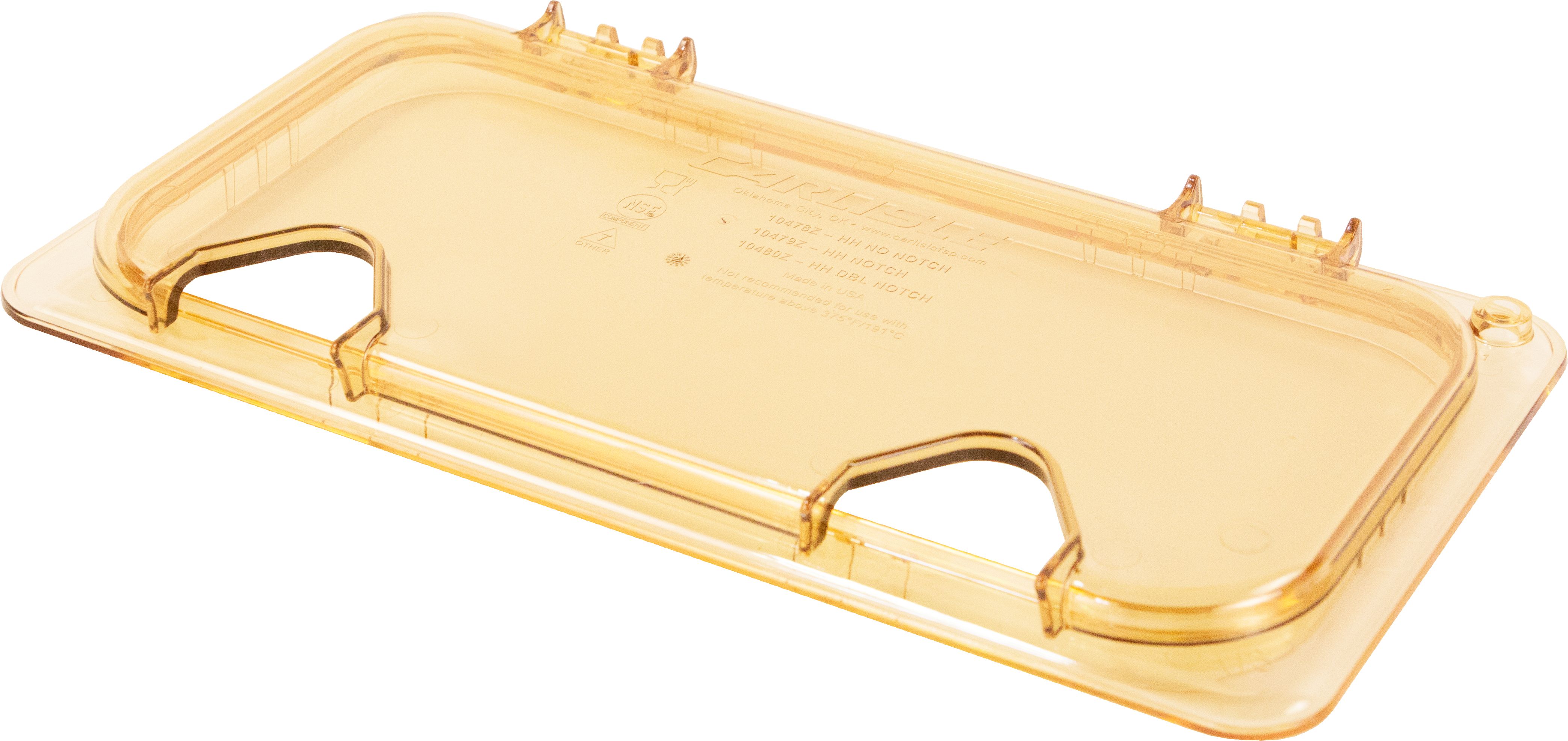 StorPlus EZ Access Hinged High Heat Lid with Handle and Two Notches Universal Third Size - Amber