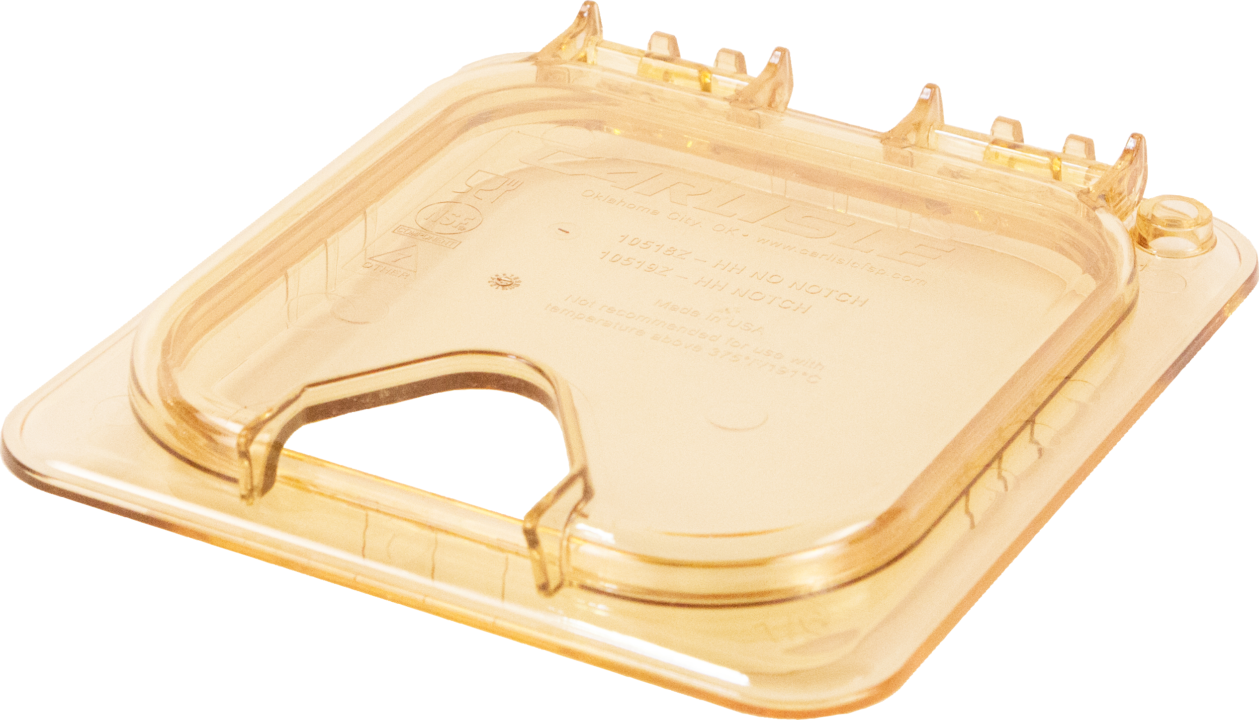 StorPlus EZ Access Hinged High Heat Lid with Handle and Notch Universal Sixth Size - Amber