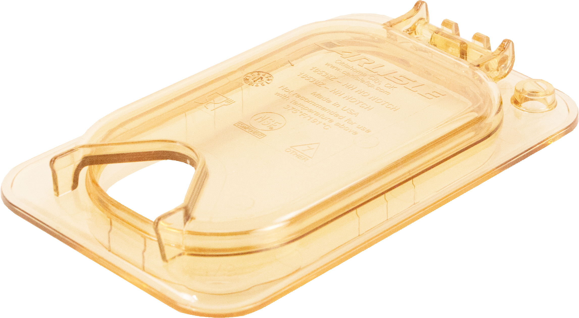 StorPlus EZ Access Hinged High Heat Lid with Handle and Notch Universal Ninth Size - Amber